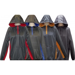 ADULT PERFORMANCE HOODED PULLOVER WITH QUARTER ZIPPER SWEATSHIRT HOODIE JACKET