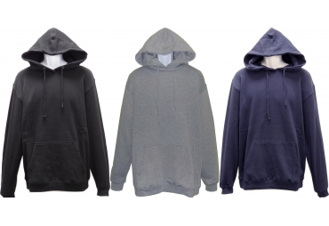 ADULT LIGHT WEIGHT HOODED PULLOVER FLEECE SWEATSHIRT