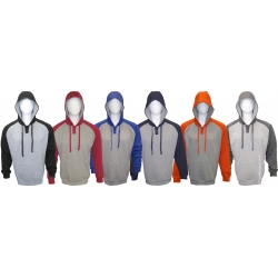 Adult Hooded Pullover Color-Blocking Henley Sweatshirt with Invisible Velcro Smartphone Pocket