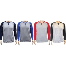 Adult Long-Sleeve Color-Blocking Henley Jersey T-shirt