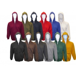 ADULT FULL ZIPPER HOODED FLEECE SWEATSHIRT JACKET
