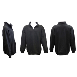 Men's Quarter Covered Zipper Fleece Sweatshirt Jacket with Mock/Cadet Collar & Sides Zippers Pockets