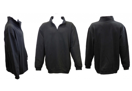 Adult Quarter Covered Zipper Fleece Sweatshirt Jacket with Mock/Cadet Collar & Sides Zippers Pockets