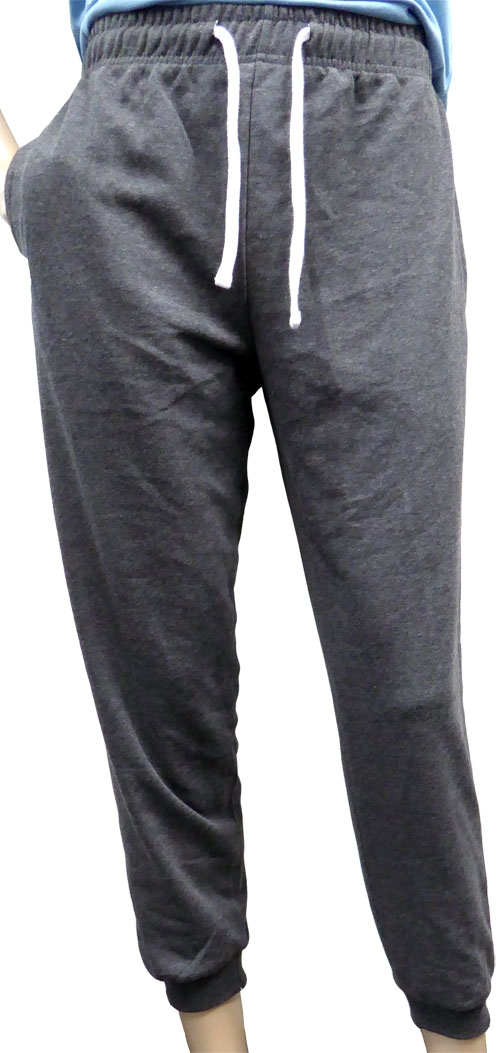Adults Casual French Terry Active Sweatpants Joggers with Elastic Waist and Bottom ends