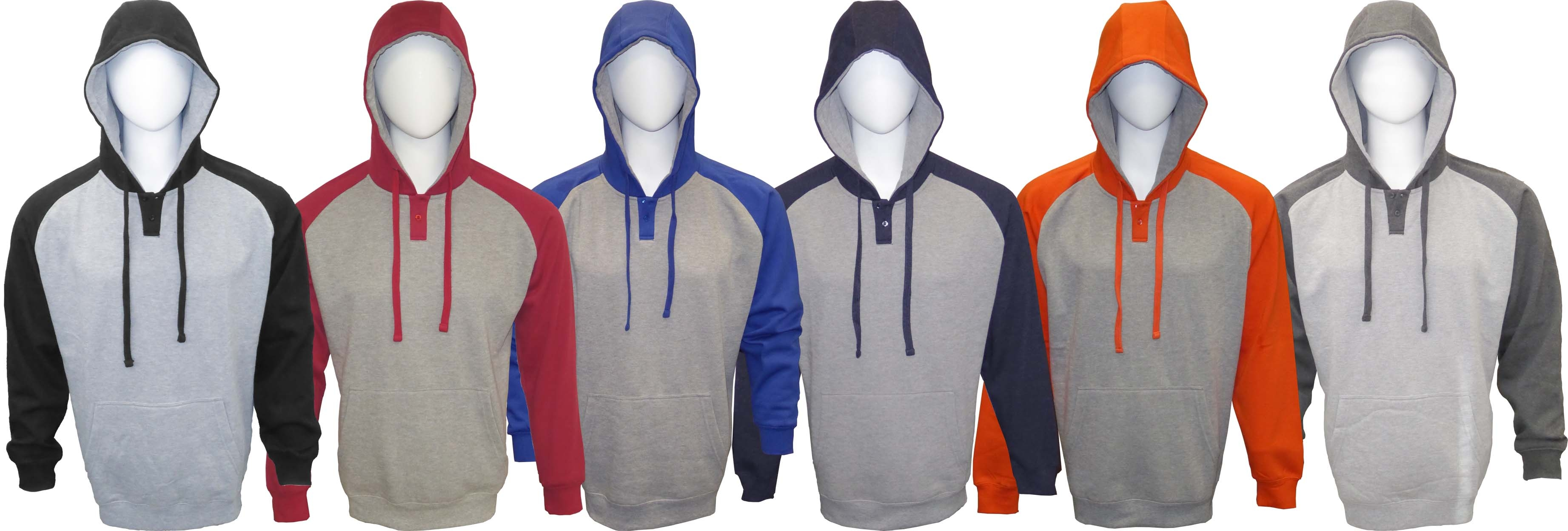 Adult Hooded Pullover Color-Blocking Henley Sweatshirt