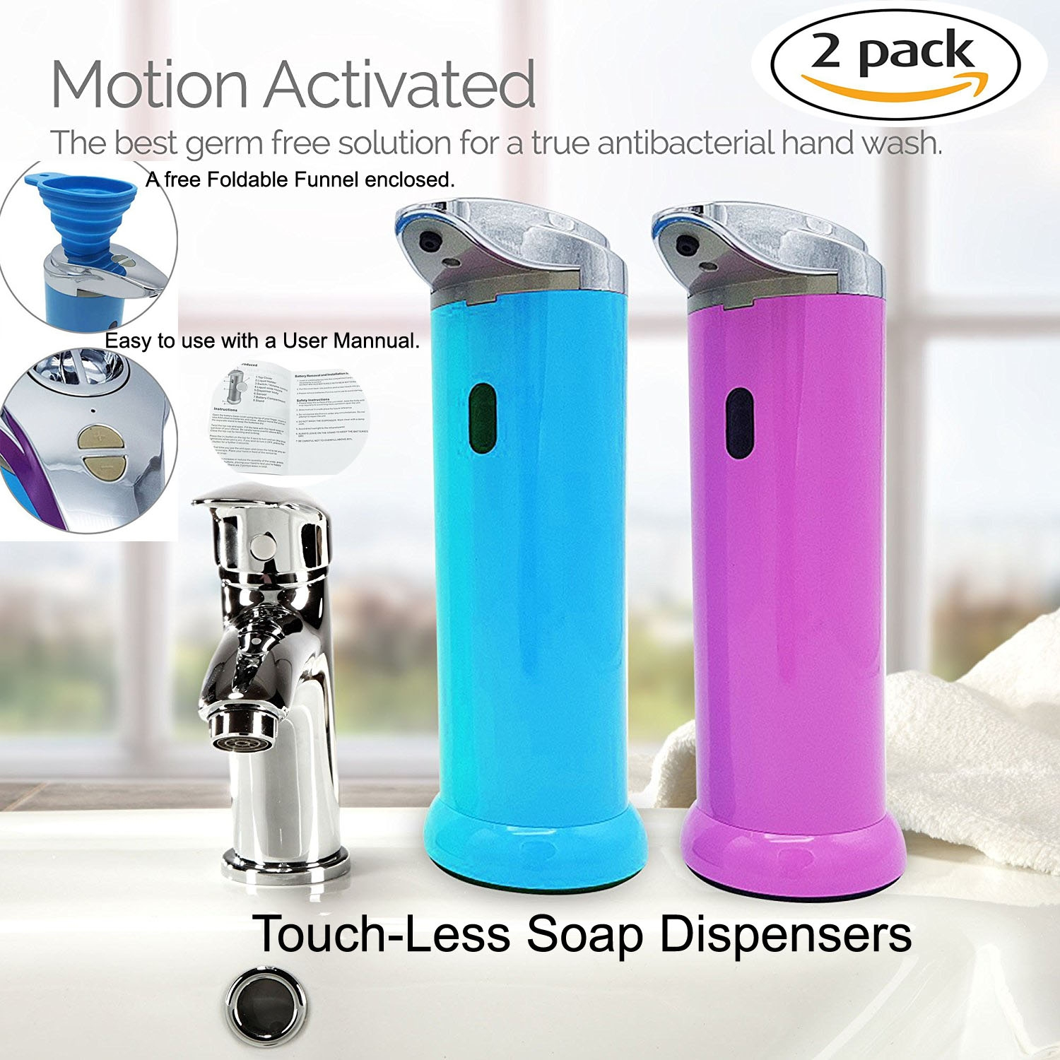 SPECIEN 2 Pack Sensor Motion Activated Touch Free/Touch Less Soap Sanitizer Dispensers…