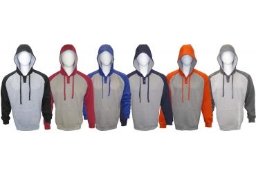 Adult Hooded Pullover Color-Blocking Henley Sweatshirt